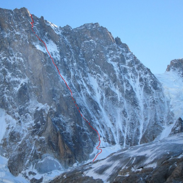 Croz Spur on the Grandes Jorasses with route Shown (slovenian start)