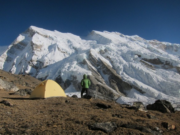 At Yalung Basecamp, first night in the firstlight, but only two of us.