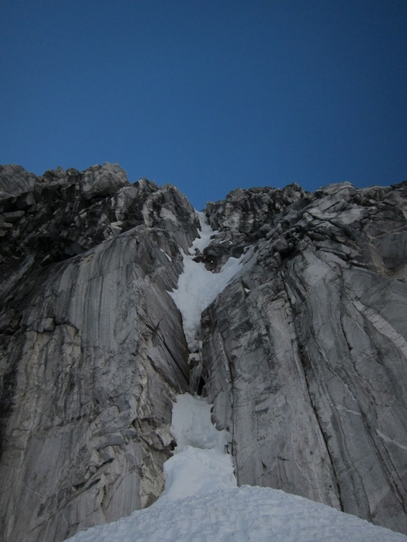 The first pitch of the north pillar. steep.