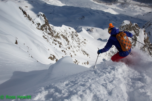 Take one, dropping in to the top of the couloir the first time.  To much snow and avi risk so i side steeped put after 3 turns.
