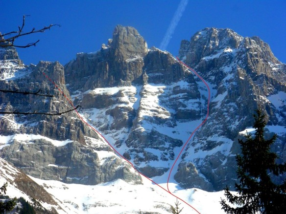 The north face of the Dents Du Midi with the dent Jaune Couloir on the left and the North Couloir of the Breche Du Doigts on the right. Photo Courtesy of Luca Pandolfi.