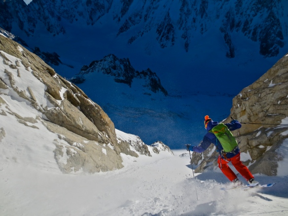 Low down in the couloir,