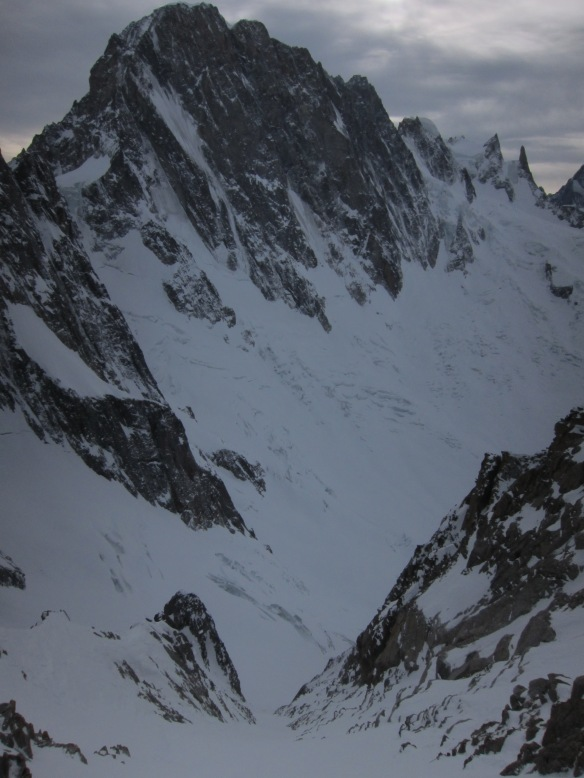 Looking down the Couloir with the Grande Jorasses in the back ground.