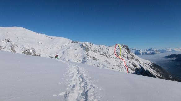 Ross on the last change over with the south face marked in red and Plan B in yellow.