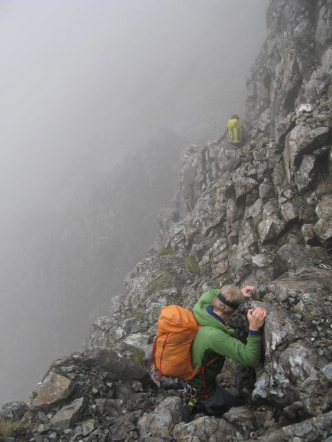 This down climbing to an abseil was greasy and scary!!