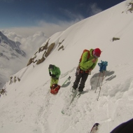 Ross Hewitt and Colin Haley in the Cosmiques Couloir