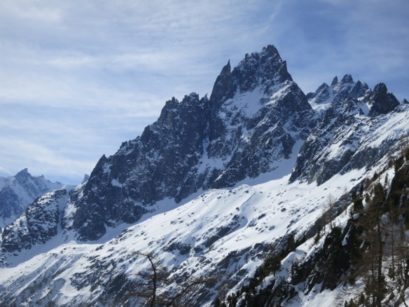 The Grande Charmoz North Face seen from Montenvers. Current Conditions.