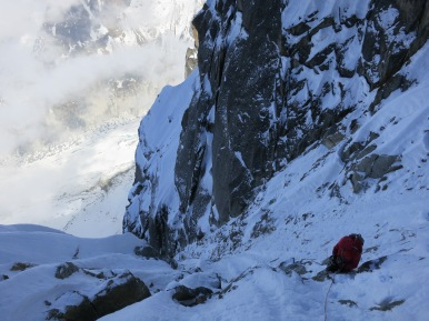 looking down the penultimate pitch.