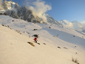 Spring skiing on the Plan D'Aguille
