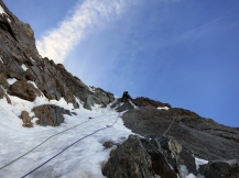 Andy on the last hard pitch of Michto
