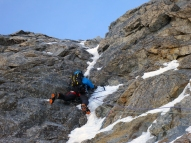 Andy leading the last hard pitch.