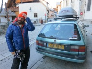 Joe Vallone, Baddass skier, Mountain guide and general legend. Standing next to his car which he inherited off Doug Combes,