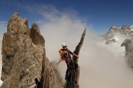 Irene on the Entreves traverse.