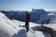 Irene Munguia Exiting the Tunnel from the Aiguille du Midi, Grandes Jorrases in the background.