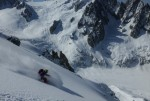 Dave Searle dropping in on the Aiguille Tacul NW Shoulder