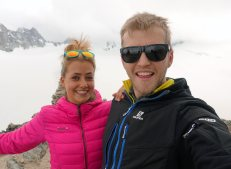 Above the Trient Hut with Irene